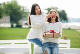 Two beautiful girls and gift