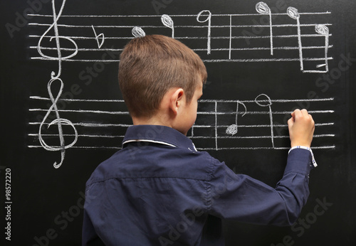 Cute boy writing at the blackboard with musical notes, in the classroom Poster