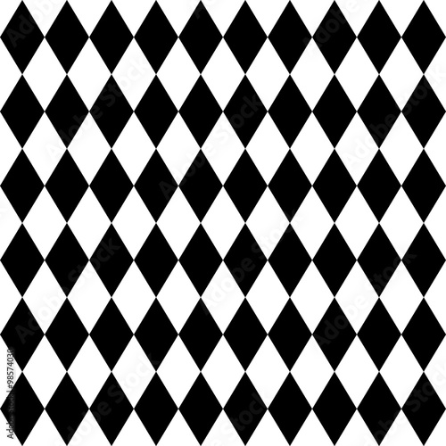 Seamless harlequin pattern-black and white - 98574030