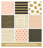 Hand Drawn Seamless Patterns Collection - 98577207