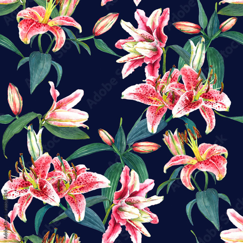 Materiał do szycia Seamless floral pattern of exotic pink tropical lilies. Hand painted watercolor. Isolated on indigo blue background. Fabric texture.