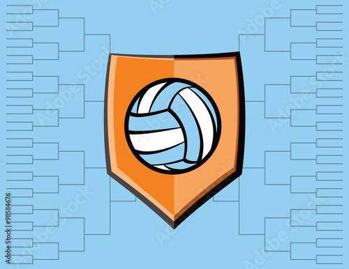 Fototapeta Volleyball Emblem and Tournament Background