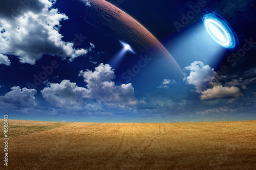 Foto op Canvas UFO in sky
