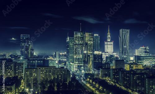 Zdjęcia na płótnie, fototapety na wymiar, obrazy na ścianę : Warsaw downtown at night
