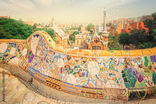 Póster Park Guell in Barcelona, Spain