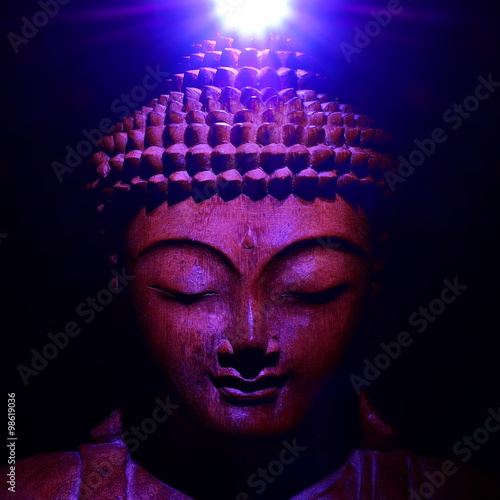 Plagát, Obraz Buddha face with light