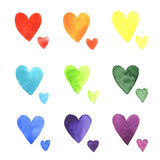 Set of watercolor hearts