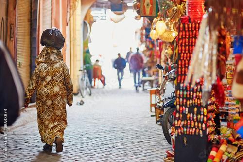 Fotobehang Marokko Women on Moroccan market in Marrakech, Morocco