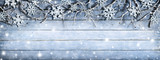 Fototapety Winter Branches On Wooden Plank With Snowflakes