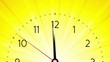 simple clock on yellow ray background