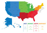 Fototapety Map of US regions. Maps USA