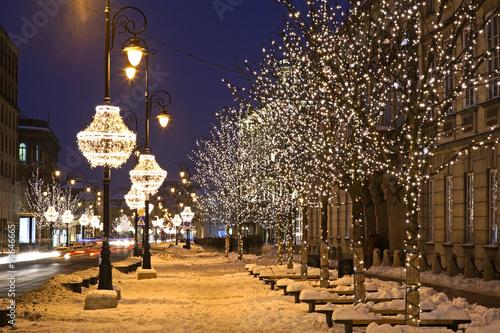 Fototapeta Nowy Swiat (New World) street in Warsaw. Poland