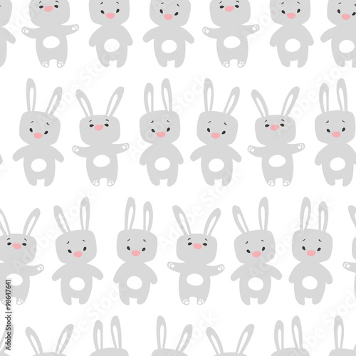 Fototapeta Seamless pattern with rabbits