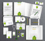 White stationery template design with green and yellow arrow ele