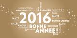Fototapety Carte de voeux – bonne année 2016 - dorée.