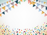 Fototapety Celebrate banner. Party flags with confetti. Vector.