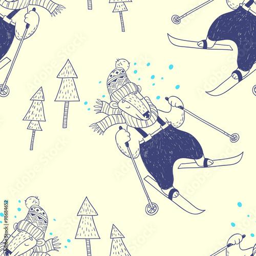 Cotton fabric Winter holidays. vector seamless pattern