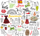 Fototapety Spain doodles elements. Hand drawn set with spanish food paella, shrimps, olives, grape, fan, wine barel, guitars, music instruments, dresses, bull, rose, flag and map, lettering. doodle set isolated
