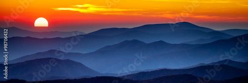 Fototapeta Smoky mountain sunset
