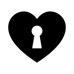 Unlock love / the heart flat icon for apps and websites