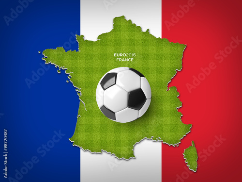 Poster A soccer ball on a France map with a green stripped soccer filed texture on a France flag