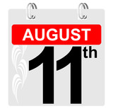 11th august calendar with ornament