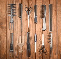 Professional hairdresser tools on table close-up