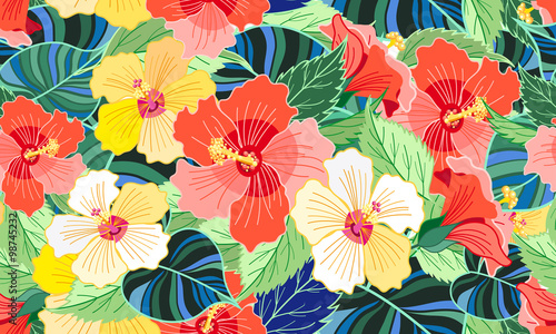 Cotton fabric tropical colorful hibiscus