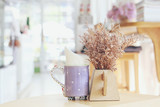 """Tiny Lilac flowers in vase at coffee shop 98757607,Apple multicolored"""""""
