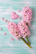 Fresh  hyacinths  and decorative pink  heart