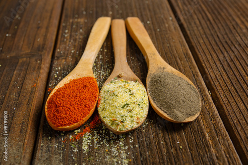 Spices in wooden spoons Poster
