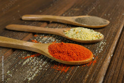 Different spices in wooden spoon Canvas Print