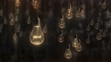 Beautiful edison style light bulbs against black wall background