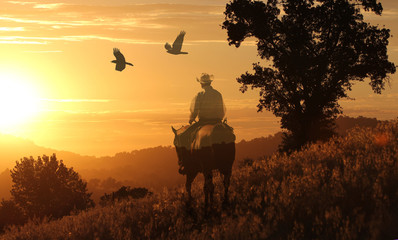 A cowboy riding into the golden sunset on a orange meadow with birds flying above.