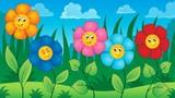 Flowers on meadow theme 5