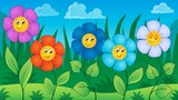 Flowers on meadow theme 6
