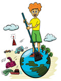 Illustration of a boy sweeping earth with industrial pollution on the background