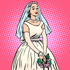 Bride in white wedding dress pop art retro style