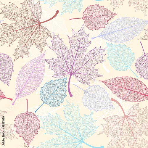 Cotton fabric Skeleton leaves seamless