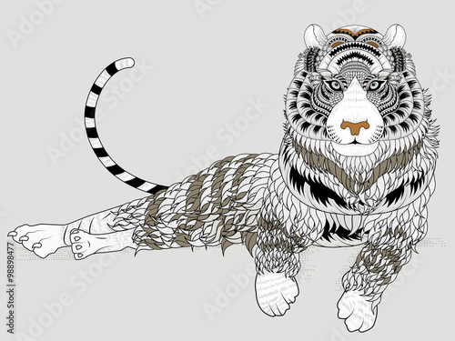 Fototapeta attractive tiger coloring page