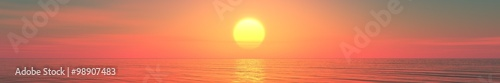 Plexiglas Koraal Panorama of sea sunset, sunrise. Baner.