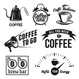 Fototapety Coffee related labels, badges and design elements set.
