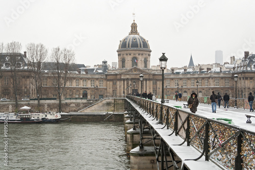 View from the Pont des Arts on the snowy Louvre Museum Poster
