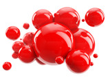 abstract group of red spheres on white
