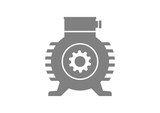 Grey electric motor on white background