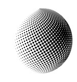 halftone globe, sphere vector logo symbol, icon, design. abstract dotted globe illustration isolated on white background. - 98969066