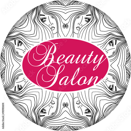 Beauty salon cover with abstract beautiful woman face for Abstract beauty salon