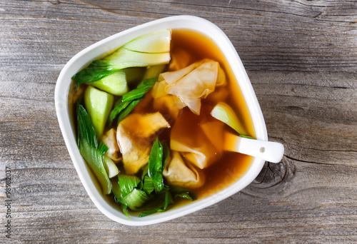 Poster Chinese wanton and vegetable soup ready to eat
