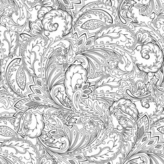 Seamless paisley pattern. Coloring page, ornamental background