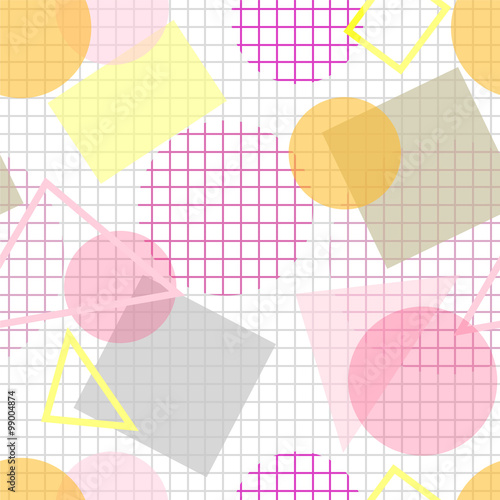 Pale seamless pattern with pink, yellow and grey geometric shape © Ksenia